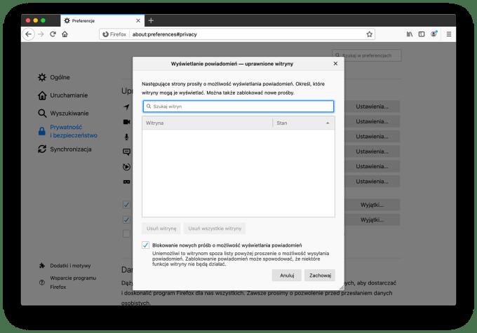 Wyłączenie powiadomień push w przeglądarce Firefox