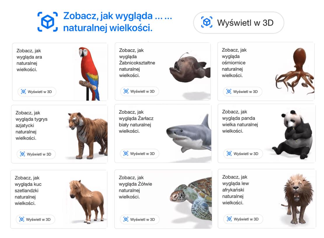 Zwierzęta naturalnej wielkości w rozszerzonej rzeczywistości (AR) – Wyświetl w 3D