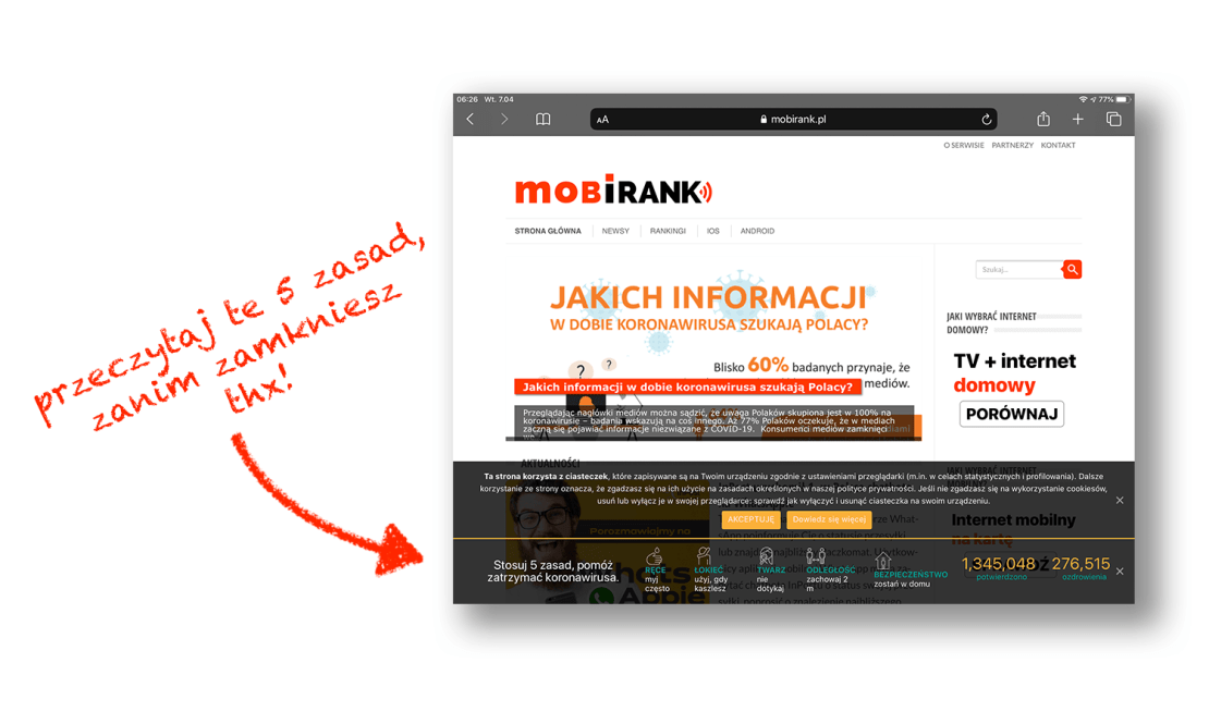 Informacja z 5 zasadami dotyczacymi walki z koronawirusem w pasku na mobiRANK.pl