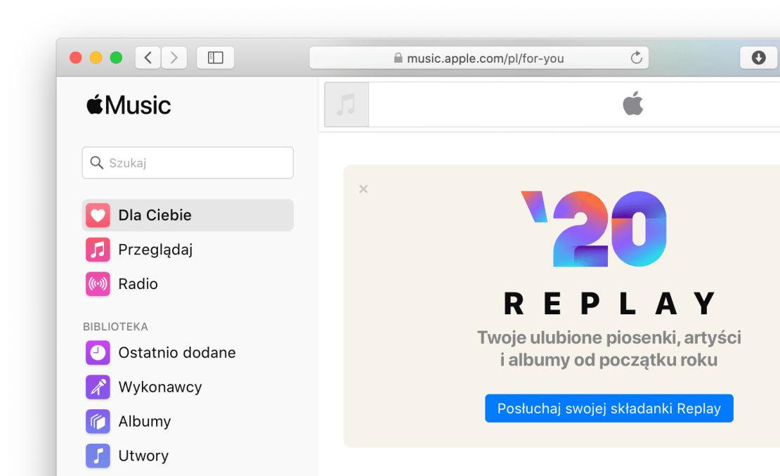 Odtwarzacz i usługa Apple Music w Safari