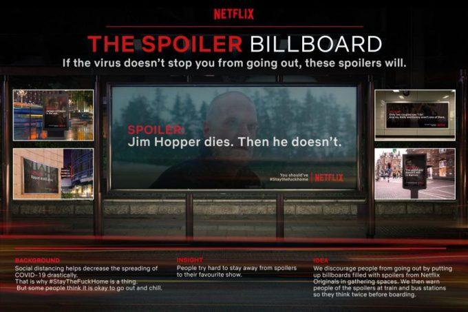 Projekty billboardów Netfliksa (ze spoilerami seriali), które mogłyby być wykorzystywane, aby ludzie zostali w domu.