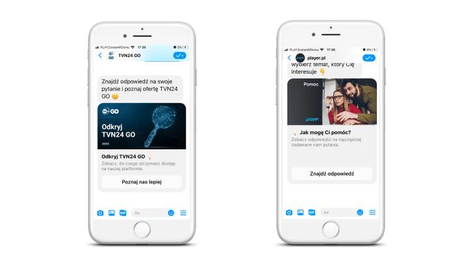 Przykładowa rozmowa z chatbotami TVN24Go i Player.pl na Facebook Messengerze