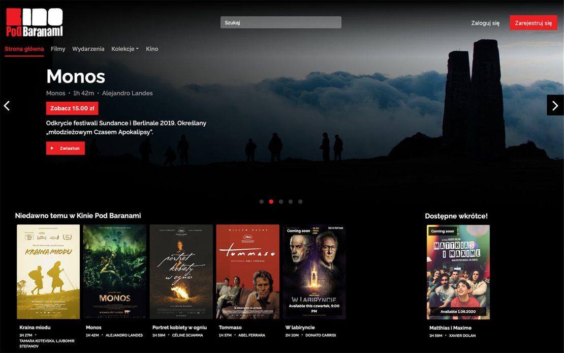 E-Kino Pod Baranami – zrzut ekranu ze strony serwisu