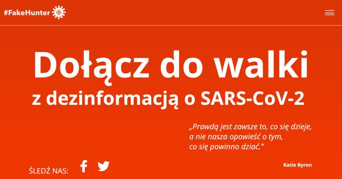 #FakeHunter – dołącz do walki z dezinformacją o SARC-CoV-2
