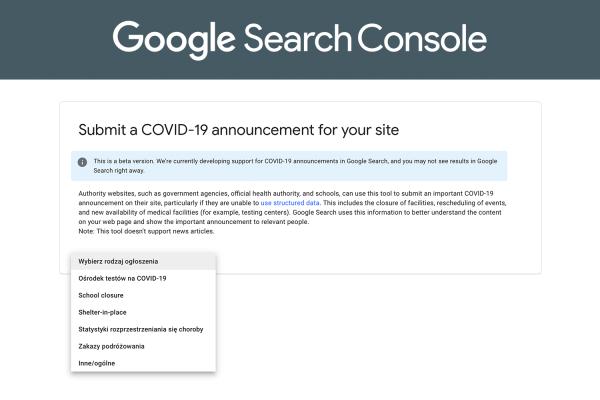 Google dodaje dane uporządkowane w ogłoszeniach dotyczących COVID-19