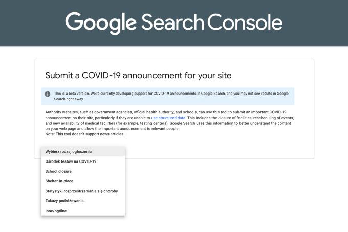 Dodawanie ogłoszeń o COVID-19 w wyszukiwarce Google za pomocą uporządkowanych danych (schema.org)