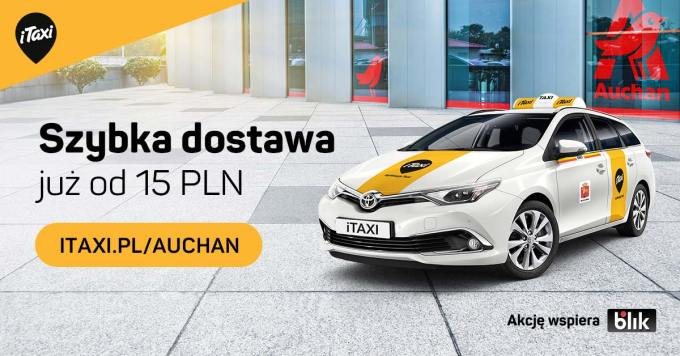 Szybka dostawa zakupów z Auchan  dzięki iTaxi