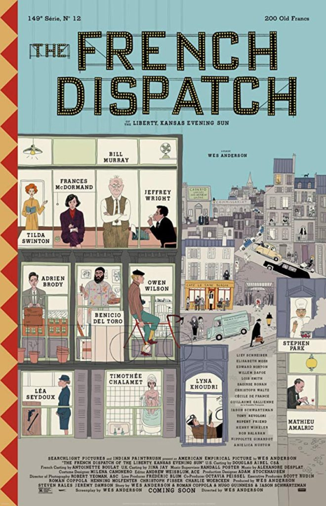 "Plakat filmu ""The French Dispatch"" w reż. Wes Anderson (2020)"