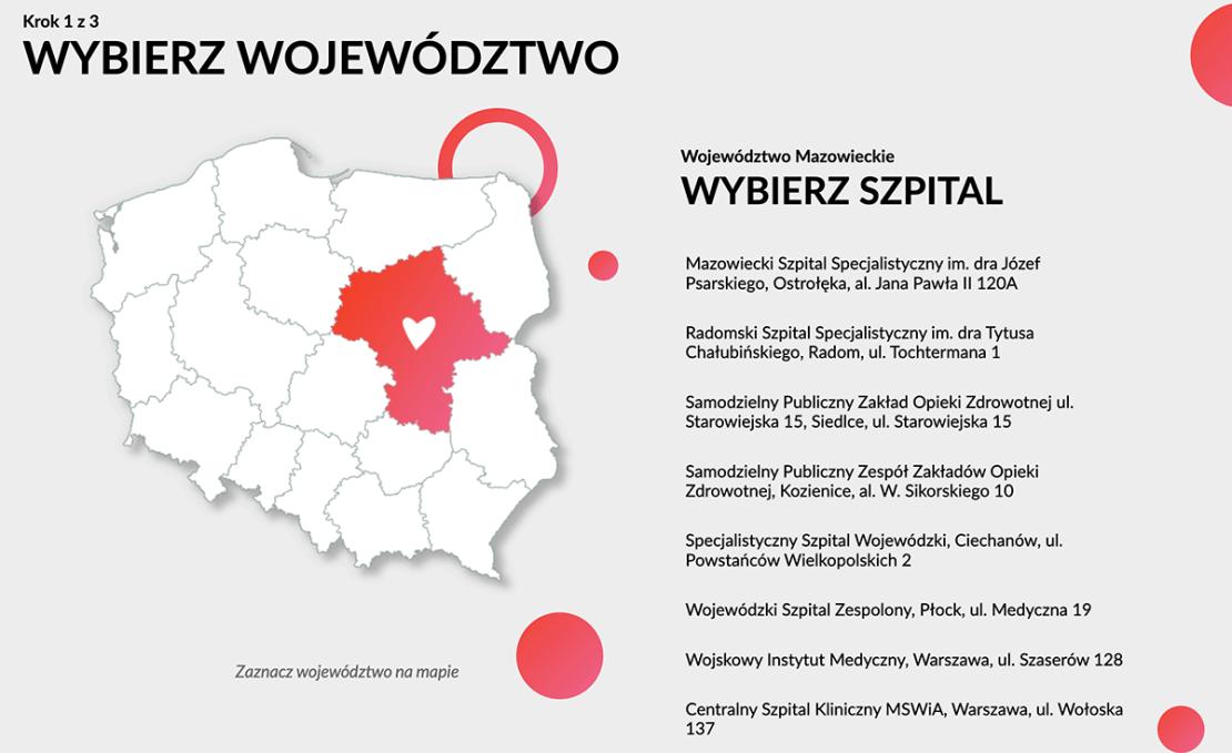 Wybierz województwo i szpital  (mapa)