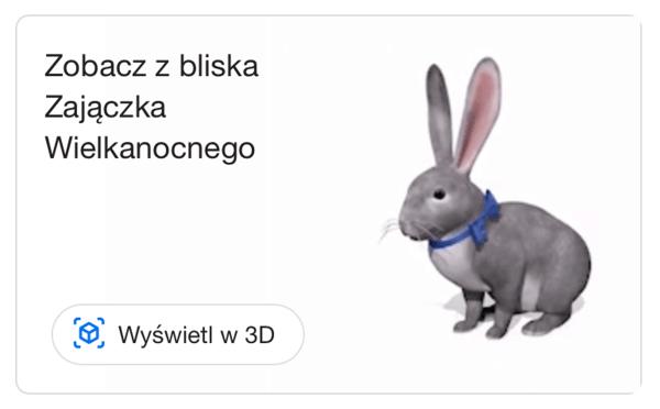 Zajączek Wielkanocny 3D w wyszukiwarce Google