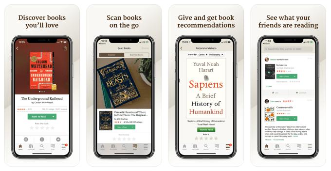 """Zrzuty ekranu z aplikacji mobilnej """"Goodreads"""""""