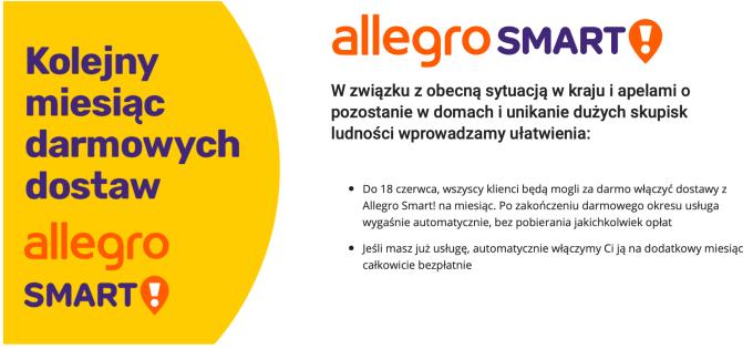 Allegro Smart! – za darmo - aktywacja do 18 czerwca 2020 r.