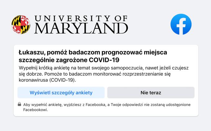 Ankieta na temat COVID-19 w ramach badania dotyczącego zdrowia publicznego – Facebook i University of Maryland (UMD