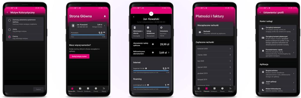 "Tryb ciemny w aplikacji mobilnej ""Mój T-Mobile"" na Androida (maj 2020)"