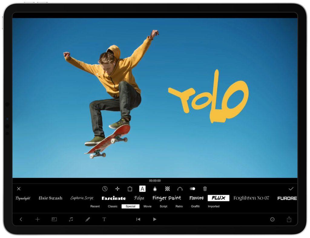 """Zrzut ekranu z aplikacji mobilnej """"Filmmaker Pro"""""""