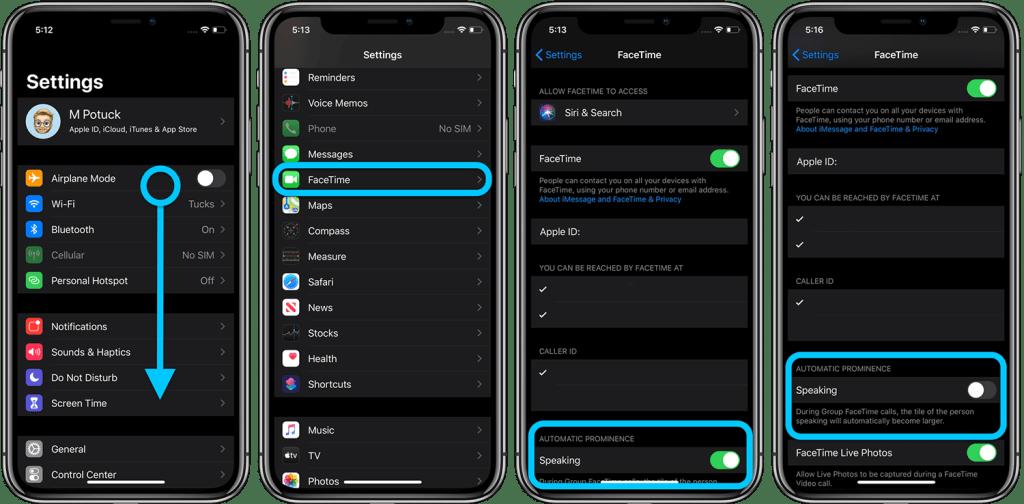 Jak wyłączyć automatyczne powiększanie rozmówców w grupowych rozmowach FaceTime (iOS 13.5)?