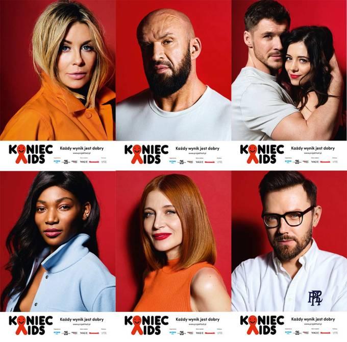 """Twarze kampanii """"Koniec AIDS - każdy wynik jest dobry"""" (Polska 2020, Projekt Test)"""