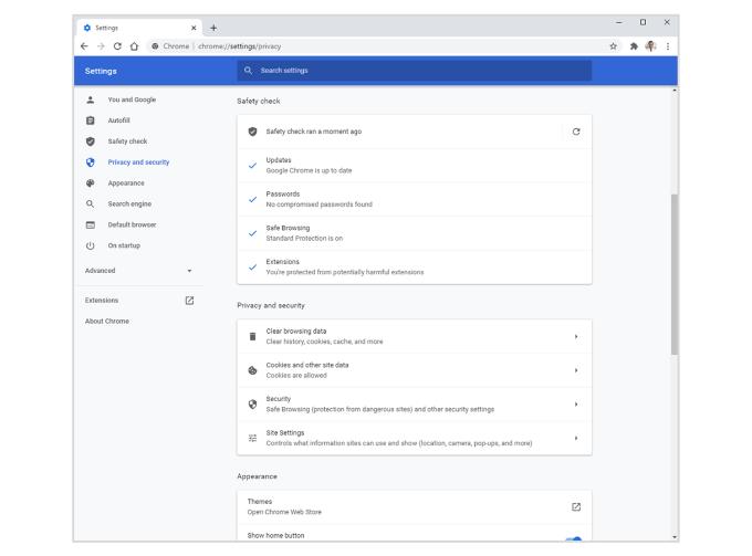Rozszerzona kontrola bezpieczeństwa - Chrome (maj 2020)