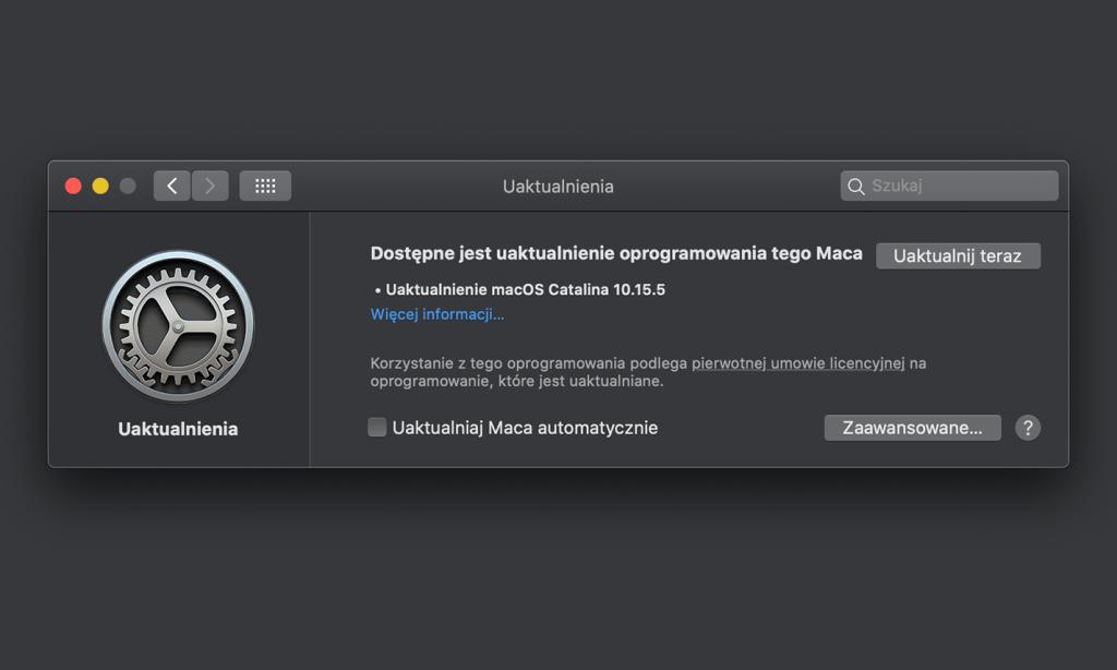 Uaktualnienie macOS 10.15.5