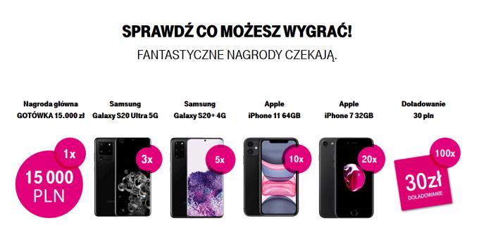 nagrody w konkursie: Doładuj konto przez internet w T-Mobile i zgarnij nagrodę (maj 2020)