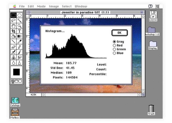 Historyczny screen programu Photoshop w wersji 1.0 na Maca