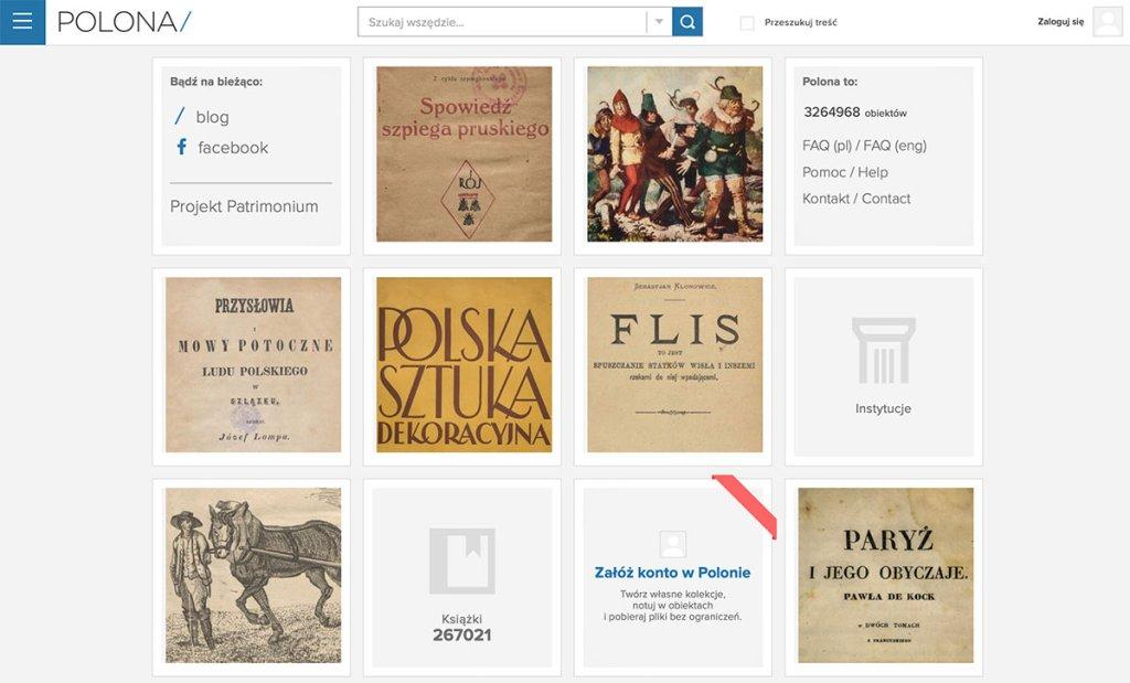 Zrzut ekranu ze strony POLONA/