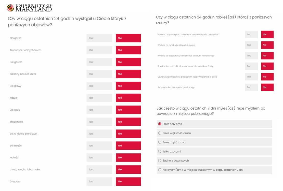 Zrzuty ekranu z przykładowymi pytaniami z ankiety na temat COVID-19 or University of Maryland