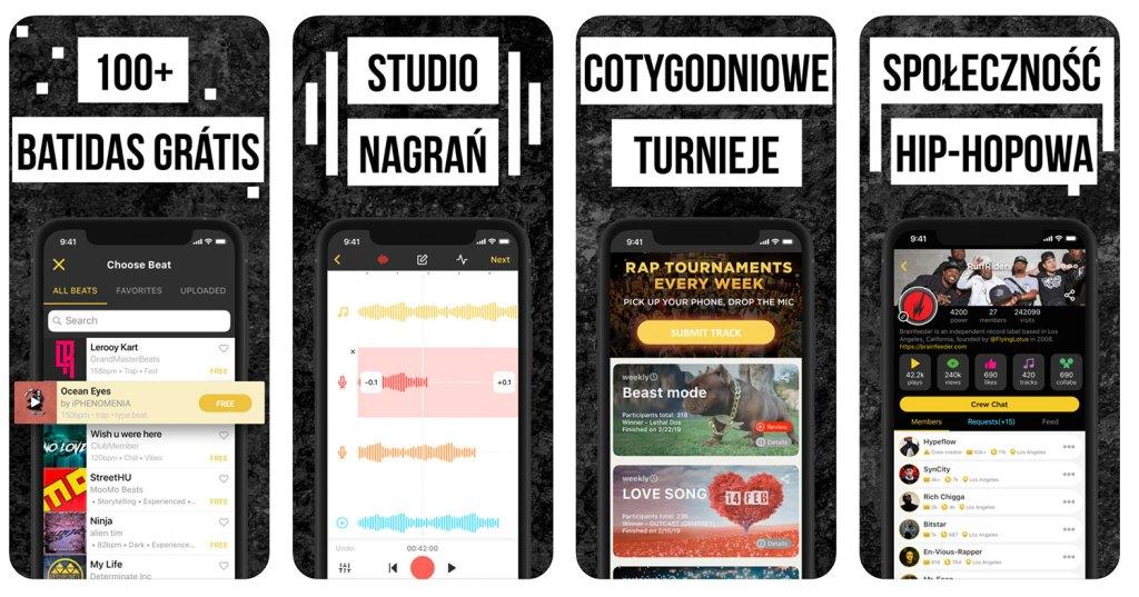 """Zrzuty ekranu z aplikacji """"Rap Fame - Rap Music Studio"""""""
