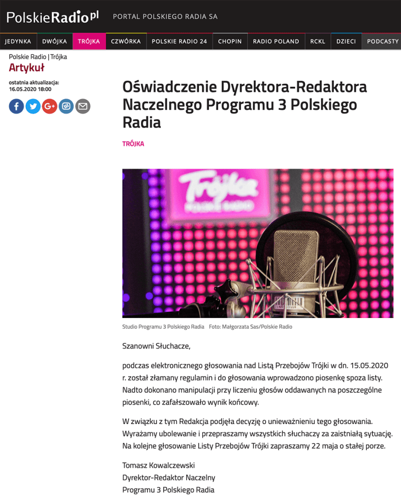 Oświadczenie Dyrektora-Redaktora Naczelnego Programu 3 Polskiego Radia dotyczące Listy Przebojów Programu Trzeciego