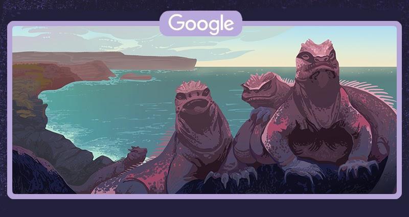 Legwan galapagoski - Ecuador's Galápagos Islands (Google Doodle)