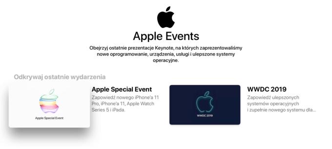 Screen z aplikacji Apple Events pod tvOS
