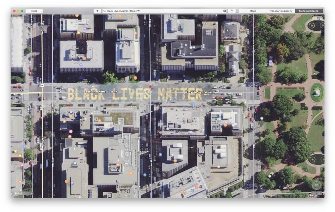 Zrzut ekranu z aplikacji Mapy Apple z ulicy Black Lives Matter w Waszyngtonie DC