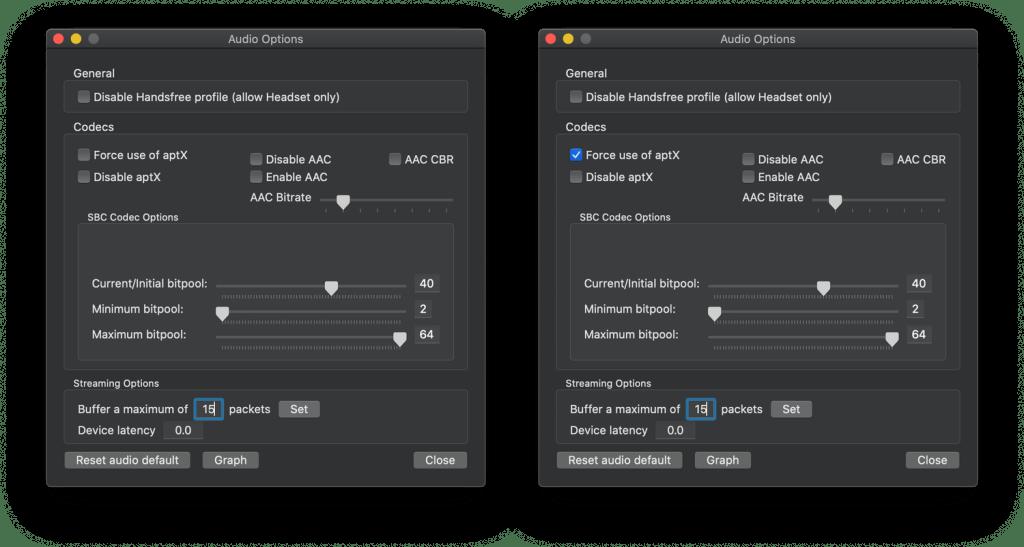 Ustawienia kodeków aptX i AAC w aplikacji Bluetooth Explorer