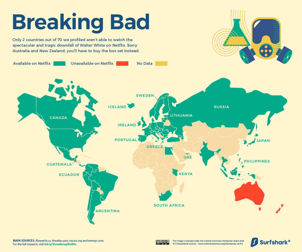 Mapa: Breaking Bad (Netflix 6/2020)