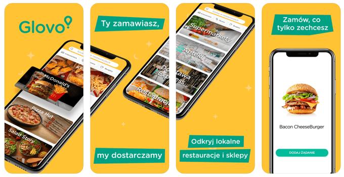 Zrzuty ekranu z aplikacji mobilnej Glovo