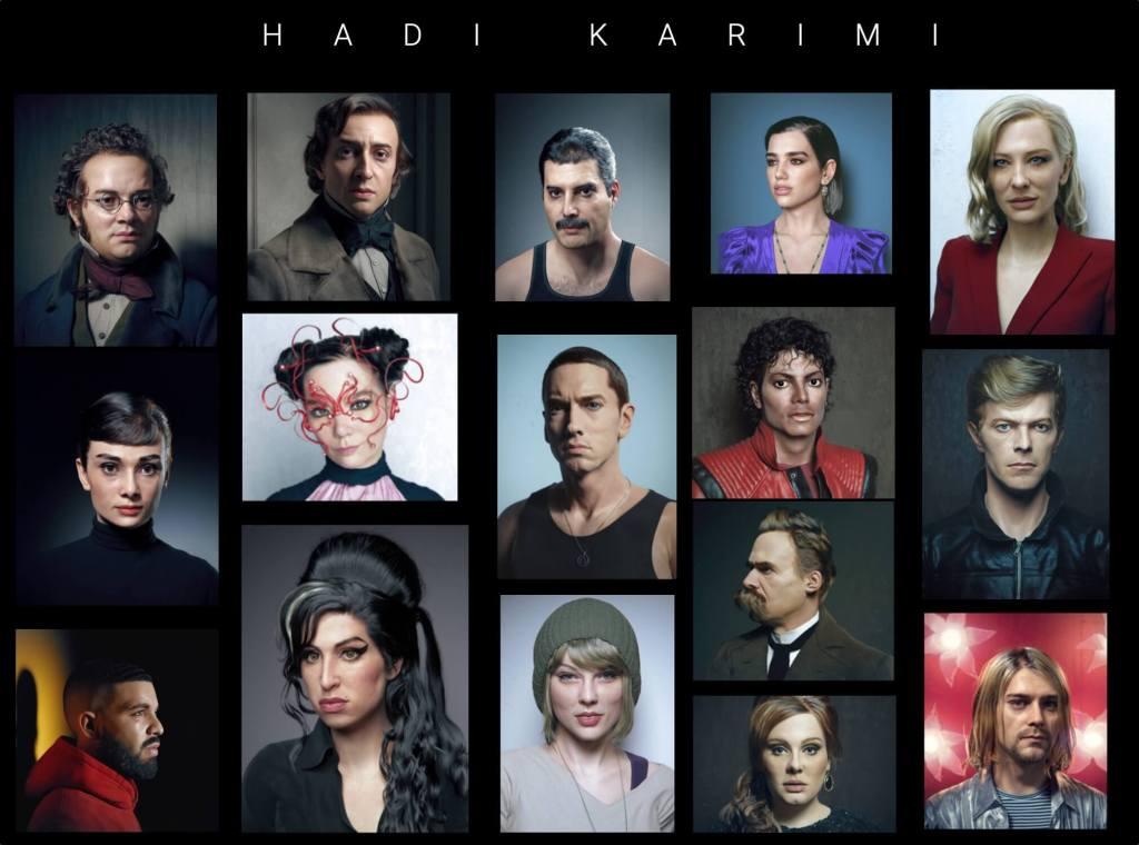 Hadi Karimi (dotychczasowe portrety wykonane przez artystę)