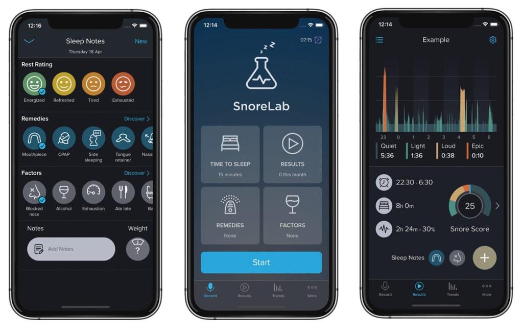 Zrzuty ekranu z aplikacji mobilnej SnoreLab : Record Your Snoring