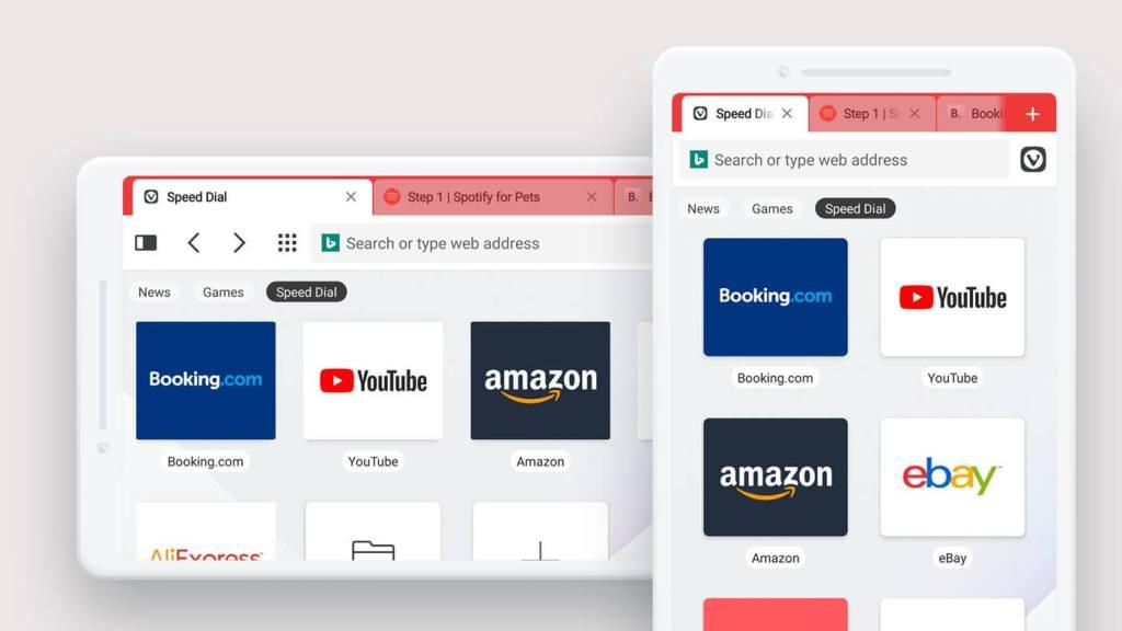 Menedżer zakładek w przeglądarce mobilnej Vivaldi na Androida