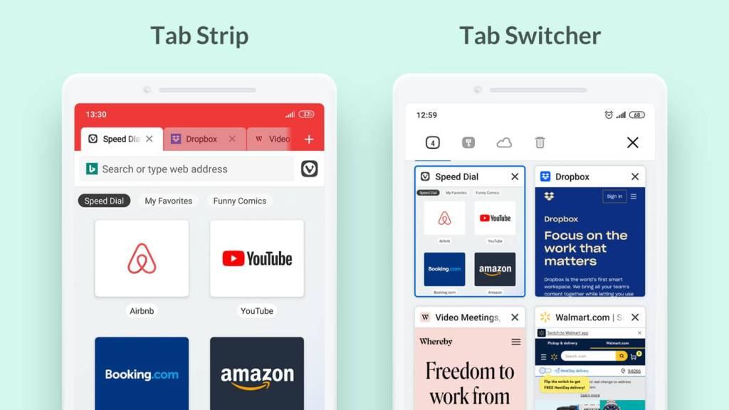 Przełącznik kart w przeglądarce mobilnej Vivaldi