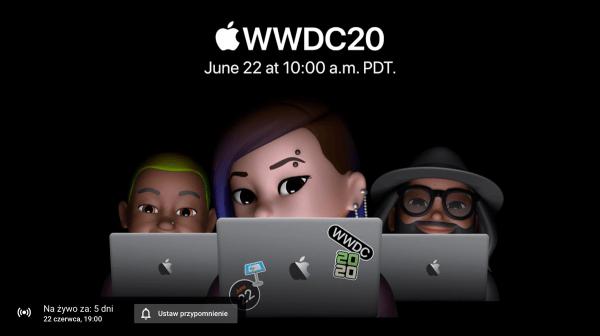 Już jest link do transmisji online WWDC20 na YouTubie!