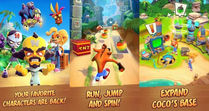 """Zrzuty ekranu z gry mobilnej """"Crash Bandicoot: On the Run!"""""""