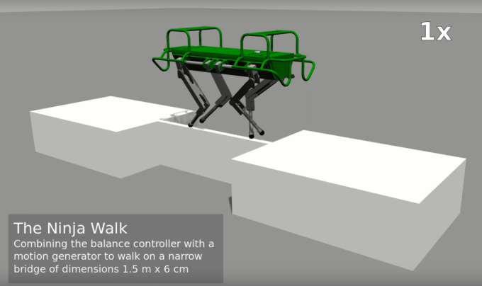 Czteronożny robot balansujący po cienkiej powierzchni (IIT)