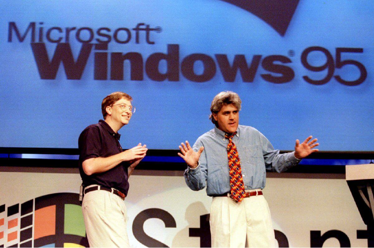 Bill Gates with Jay Leno at the Windows 95 launch (Jeff Vinnick, Reuters)