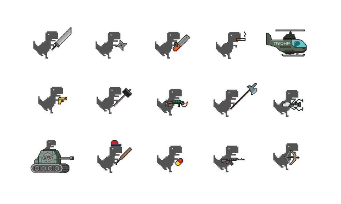 Przykładowe bronie w grze Dino Swords