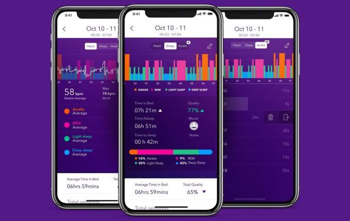 Zrzuty ekranu z aplikacji Pillow Automatic Sleep Tracker