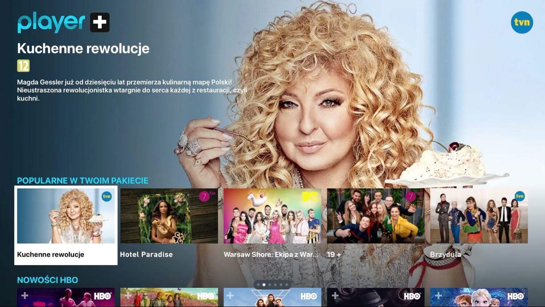 Player.pl na Apple TV (zrzut ekranu z Magdą Gessler, Kuchenne rewolucja)