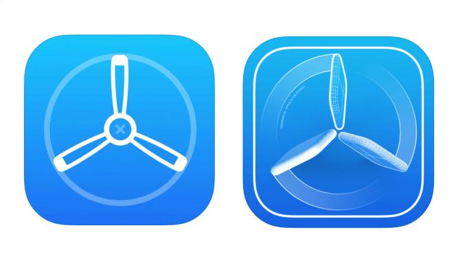 Ikona aplikacji TestFight (po lewej stara ikona, po prawej nowa ikona)