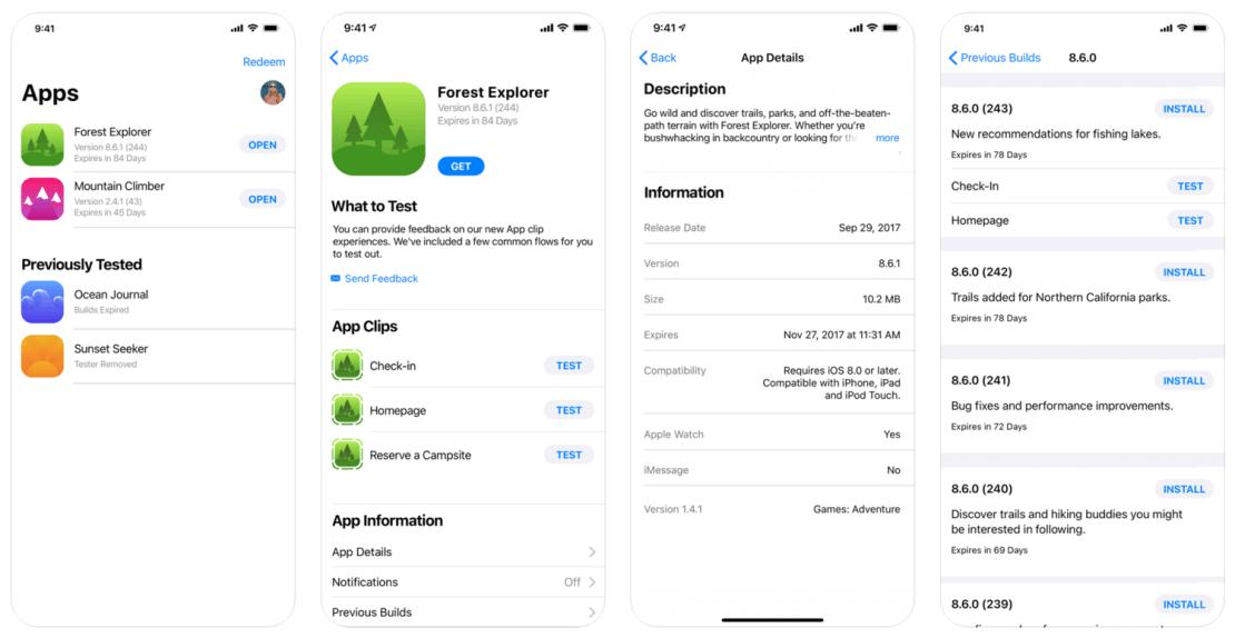 Zrzuty ekranu z aplikacji TestFlight (Apple)