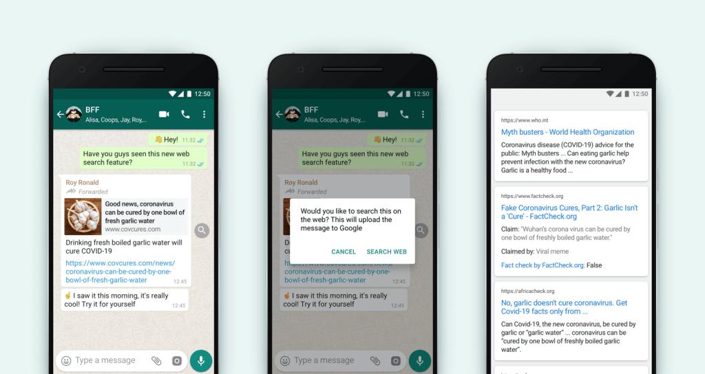 Weryfikacja przesyłanych linków na WhatsAppie za pomocą lupki