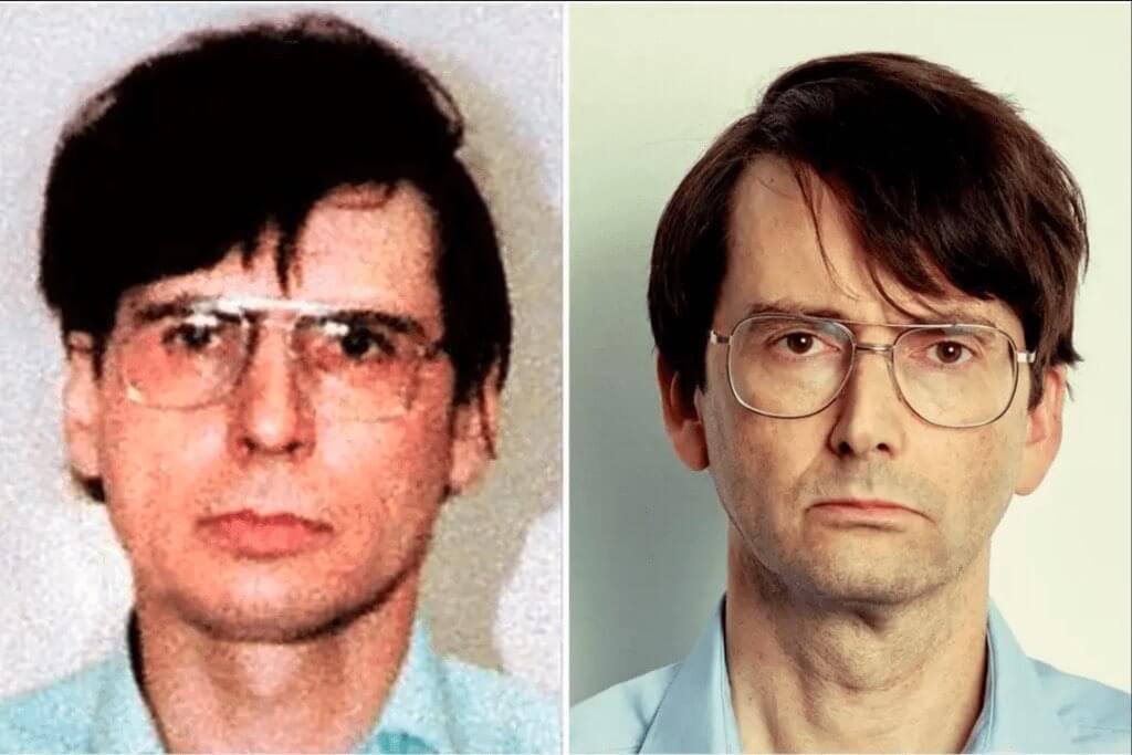 Des Nilsen vs David Tennant (image – Radio Times) - miniserial Des